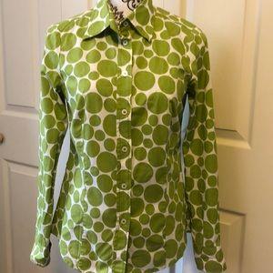 Boden Green Dots Button Up Shirt UK 8 US 4